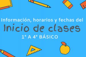 1° a 4° Básico: Información importante para los primeros días de clases